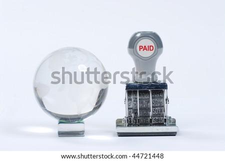bills paid stamp - stock photo