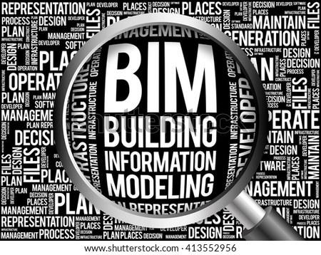 BIM - building information modeling word cloud with magnifying glass, business concept