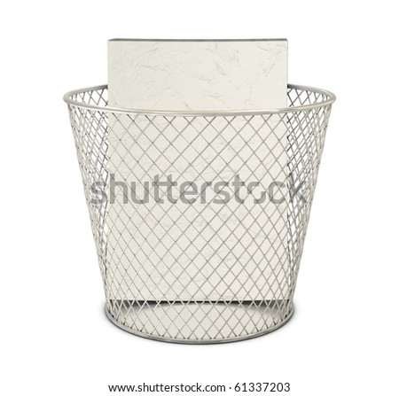Bin and papers isolated on white background - stock photo