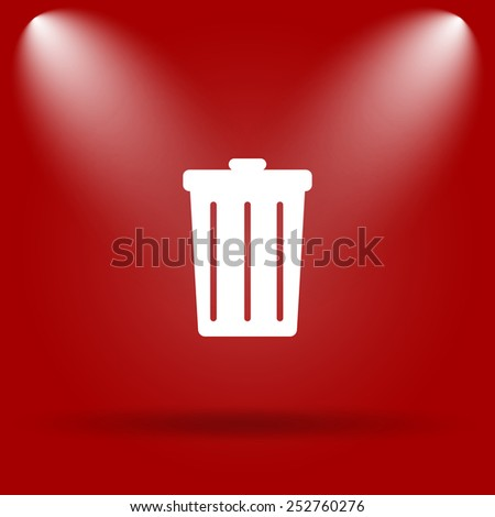 Bin icon. Flat icon on red background.  - stock photo