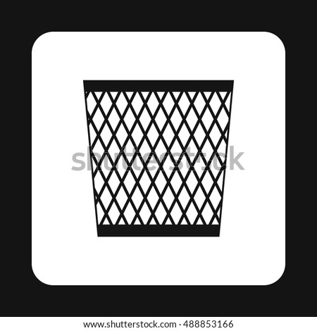 Bin icon in simple style isolated on white background. Sanitation symbol