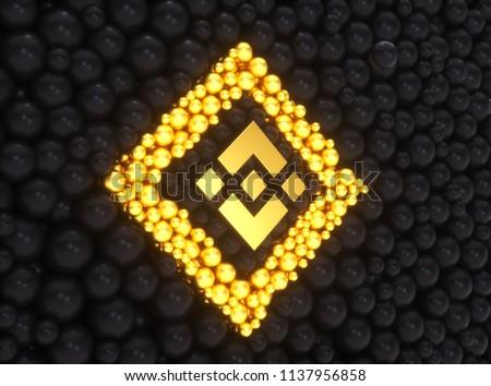 Binance Coin Logo Symbol. 3D Illustration of Gold Binance Coin Money Logo on the Black sphere shape  Background and Yellow Glow Shape. Binance Coin Logo.