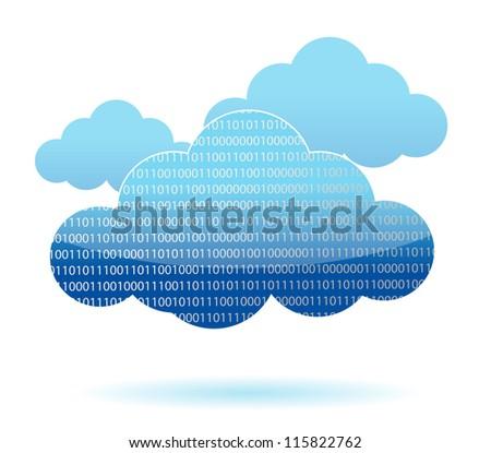 binary cloud computing concept illustration design over white - stock photo