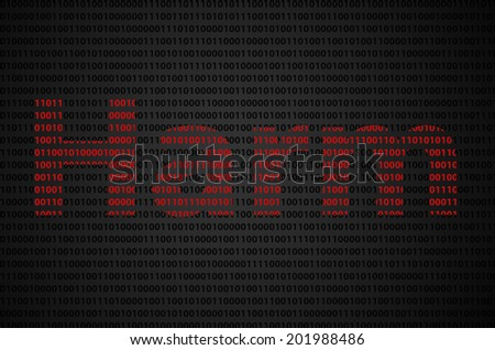 """Binary code concept with """"Harm"""" text appear on red binary code  - stock photo"""