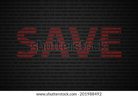 """Binary code concept with """"SAVE"""" text appear on red binary code  - stock photo"""