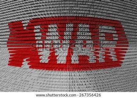 binary code cyber war - stock photo