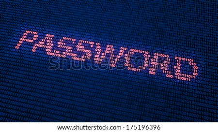 Binary code forming the word password - cyber security concept - stock photo