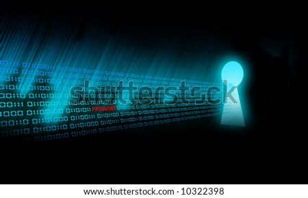 Binary Code goes to a keyhole - stock photo