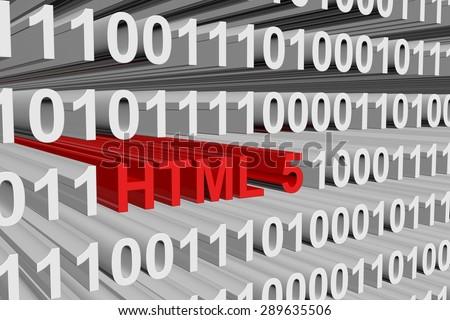 binary code html 5 - stock photo