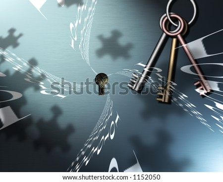 Binary Code, Keys and Puzzle Piece shadows comprise this image - stock photo