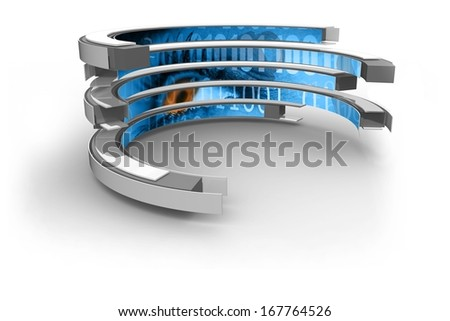Binary code on abstract screen - stock photo
