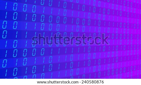 Binary code on blue and purple background - stock photo