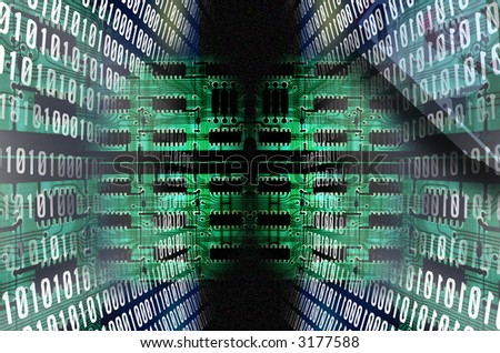 binary code path going to a circuit board