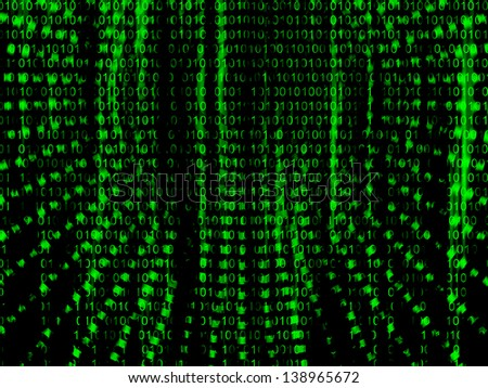 Binary code streaming - stock photo