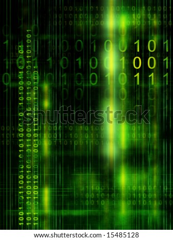 Binary code streams on high technology background. Digital illustration - stock photo