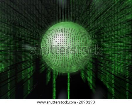 Binary code, the internet, data transfer, a free interpretation. - stock photo