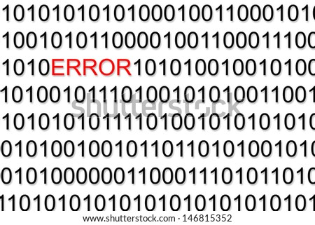 Binary Code with red Error - stock photo