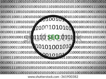 Binary code with SEO and magnifying lens on white background - stock photo