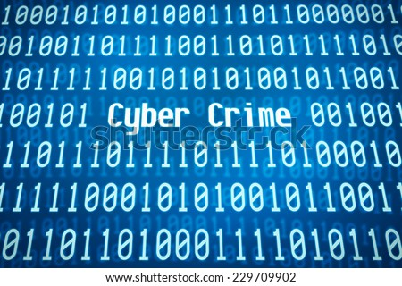 Binary code with the word Cyber Crime in the center - stock photo