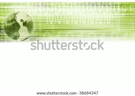Binary codes and globe over white background - stock photo