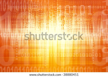 Binary coding on abstract orange background - stock photo