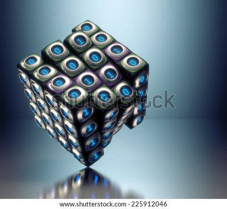 Binary cube concept of digital technology. Clipping path included. - stock photo