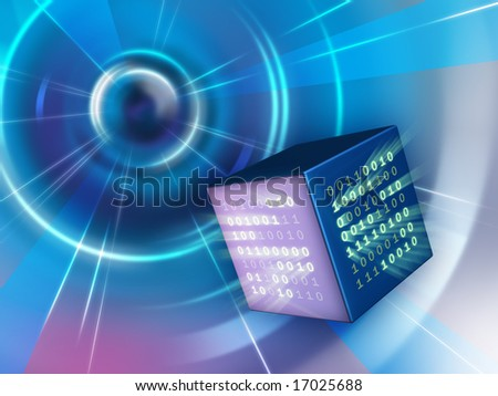 Binary data cube traveling in a tunnel. Digital illustration. - stock photo