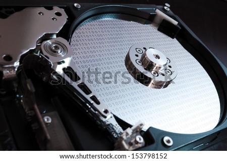 Binary data on hard drive - stock photo