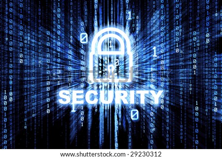 Binary matrix with glowing security lock - stock photo