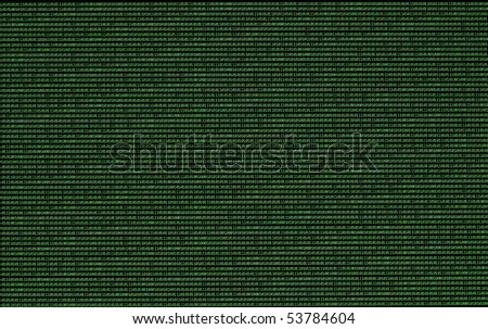 Binary numbers, zeros and ones, in green on a black computer monitor