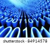 Binary stream, flow of information - stock photo