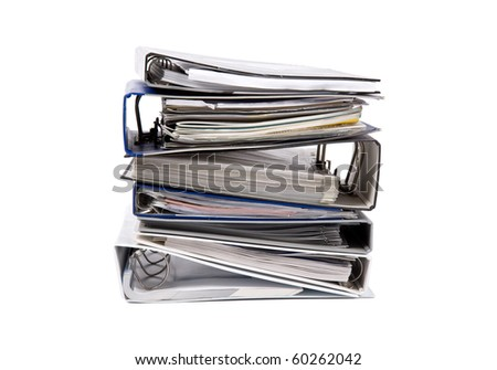binder documents in stack isolated on white - stock photo