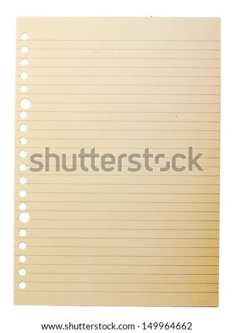 Binder paper on the isolated over white background