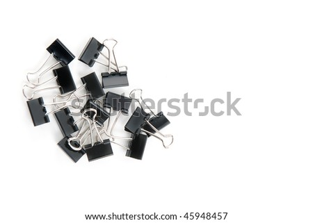 Binder, paperclips isolated on white.