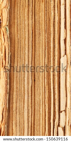 Binding of old book. Close up. Whole background. - stock photo