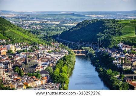 Bingen am Rhein and Rhine river in Rheinland-Pfalz, Germany - stock photo