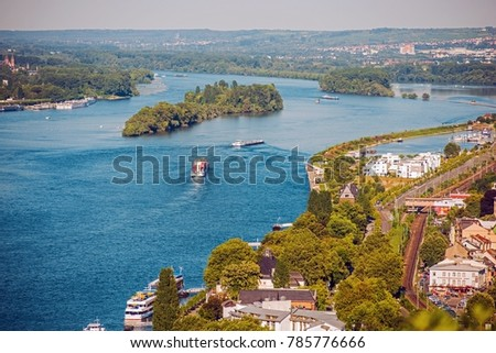 Bingen am Rhein Germany. Rhine River Landscape with Part of the City. River Transportation