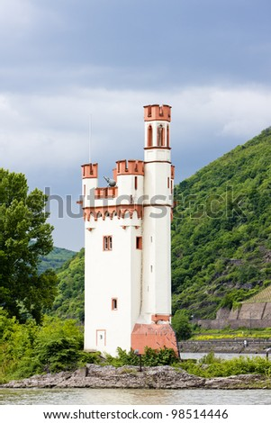 Binger Maeuseturm, Mouse Tower on Mouse Island, Rhineland-Palatinate, Germany - stock photo