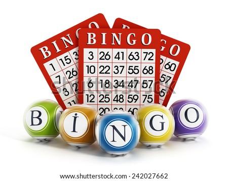 Bingo balls and cards isolated on white background. - stock photo