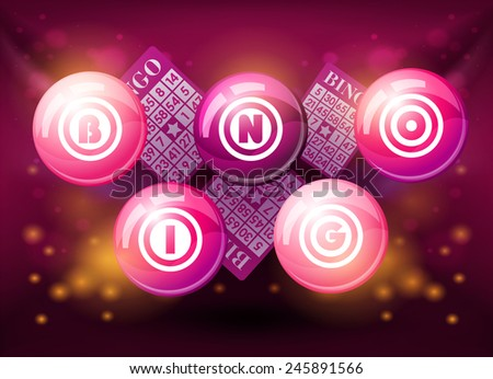 Bingo balls on pink shiny background - stock photo
