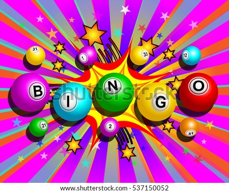 Bingo balls word on colorful cartoon exploding background