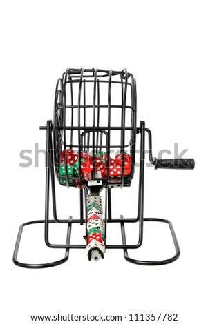 Bingo Game Cage with Dice on White Background - stock photo