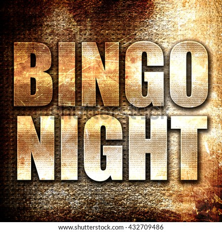 bingo night, 3D rendering, metal text on rust background