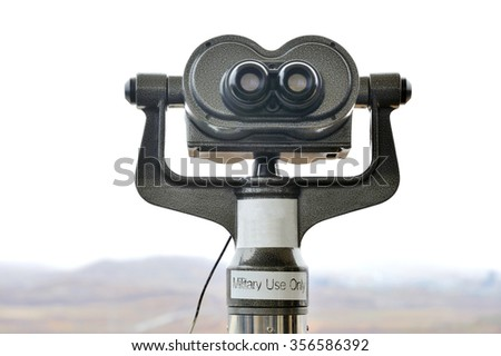 Binocular for military use only to watch  North Korea at the DMZ Zone (South Korea) - stock photo