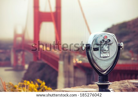 binocular - golden gate. Cross processing - stock photo