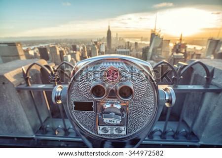binocular new york - stock photo