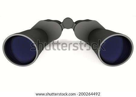 binocular on white background. Isolated 3d image - stock photo