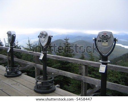 Binoculars at Observation Point at the Top of Whiteface Mountain, Adirondacks, NY, USA. - stock photo