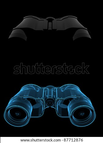 Binoculars (3D xray blue transparent) collage dual - stock photo