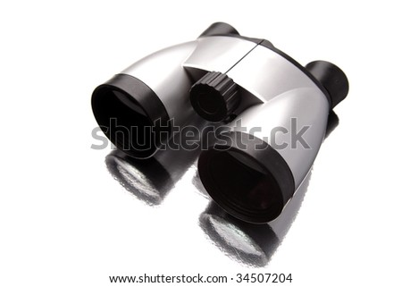 Binoculars isolated over white background